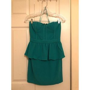 URBAN OUTFITTERS green peplum cocktail dress